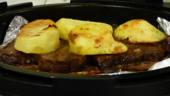 Lamb chop and potatoes (Sandy Austin) Tags: panasoniclumixdmcfz70 sandyaustin northisland newzealand food massey westauckland airfryer