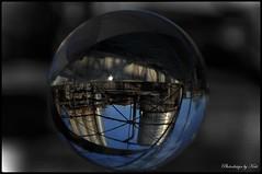 Industrieglaskugel (NoireRose) Tags: dortmundessen glaskugel photographie nikond90 industrie blackwhite natur glasball kokereihansa zeche zollverein ruhrgebiet industriekultur metropole ruhr schwarzweis photodesignbykati outdoor glaskugelfotografie germany niemcy stahl eisen kohle