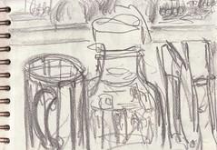 Die Welt in meinem Wohnzimmer - wenn Du nicht getrunken hättest (raumoberbayern) Tags: zeichnung drawing sketch sketchbook skizzenblock dina5 wohnzimmer livingroom robbbilder graphite grafit stillife stillleben naturemorte fernsehen tv