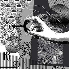 Digital collage (Natasha Davydova) Tags: art artwork collage digital computer graphics vector monochrome picture object line abstract abstraction pattern geometric geometry shape drawing hand key keyhole