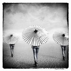 Acausal Parallelism (WayneToTheMax) Tags: walk away blue jeans back umbrella shade desert barren emotions beginning synchronicity acausal parallelism nikon d750 black white james hunter