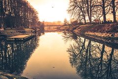 City reflection (Maria Eklind) Tags: mill winter nature water spegling sweden väderkvarn weather bro brygga canal bridge reflection malmö slottsparken slottsträdgården cityview mist kanal park city dimma kungsparken fog skånelän sverige se
