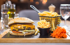 Proper Burger (Syncher) Tags: burger cheeseburger chips fries wood lights orb orbs light contrast dof shallow restaurant dish food culinary photography oil oilve carrots serving table gray blue grey halal warsaw
