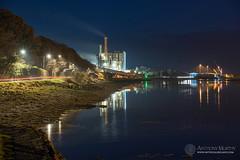Blue hour by the Boyne (mythicalireland) Tags: factory port drogheda boyne river road reflection water evening dusk blue hour twilight nikon