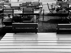Munich, 2017 (dariaalex) Tags: street rain emptiness chair cafe restaurant day monochrome bw light