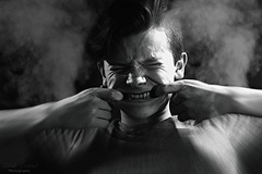 Pull (Caleb James Photography) Tags: pull selfportrait me blackandwhite smoke dark face boy
