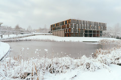 frosty mornings (Marc R. A.) Tags: architecture architektur house lake building water sky shnow winter ice wooden university stuttgart frost soft