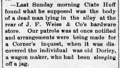 1893 - Clayton Huff finds living corpse - Enquirer - 27 Oct 1893