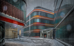 ZMB Graz (Bernd Thaller) Tags: graz styria austria zmb molecularbiosciences center building modern architecture snow weather dark gray orange outdoor d850