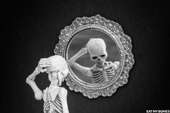Sometime I feel like a loser... (EatMyBones) Tags: confidence figurine miniature mirror poseskeleton rement skeleton toy toyphotography