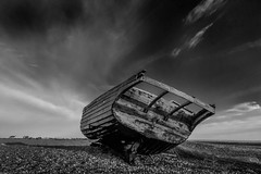 boats (8 of 1) (selvagedavid38) Tags: boat coast kent beach shore dungeness abandoned wreck black white sky clouds