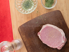 Pork fillet marinating mise en place. (annick vanderschelden) Tags: oil cookingoil herbs ingredients herbesdeprovence parsley thyme chives marjoram rosemary marinade board wood bowl glass decorative red food culinary whitepepper pepper
