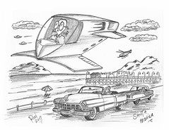Santa Monica (rod1691) Tags: myart art sketchbook bw scifi grey concept custom car retro space hotrod drawing pencil h2 hb original story fantasy funny tale automotive illistration greyscale moonpies sketch sexy santamonica pier