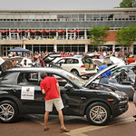 Electric and hybrid cars on display during Earth Day activities on the Brickyard.