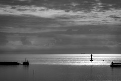 Harbor view (robert.lindholm87) Tags: nikon sigma bw bnw black white blackandwhite blackwhite blacknwhite silouette backlight backlit water harbor sweden lighthouse sky cloud clouds