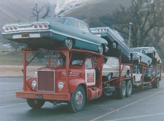 Mack B73: Rene's A-T (red) (PAcarhauler) Tags: mack carcarrier semi truck trailer tractor
