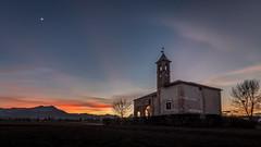 Sunset on the church (FButzi) Tags: sunset chiesa church tramonto piemonte cappella san bernardo chapel sky moon tree
