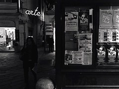 """The Newsstand"" (giannipaoloziliani) Tags: captureconcept extreme exposure extremeblack vicolidigenova view vicoli centrostorico historiccenter caruggi arte art neon lightandshadow notte capture walking dark darkness strange people citynight citynightlife capturestreets raw blackandwhite biancoenero city citylife italy italia genova genoa liguria newsstand"