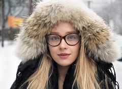 Liza (jeffcbowen) Tags: liza toronto stranger street russia thehumanfamily eyes glasses fur hood
