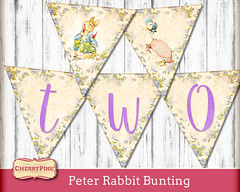 Peter Rabbit Birthday Bunting (CherrypinkEtsy) Tags: peterrabbitbirthdaybunting secondbirthday 2birthday purple genderneutral printable birthdaybunting party download girlbirthday
