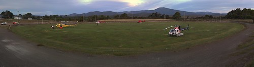 Zeehan heliport with Mt Dundas in the distance