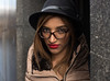 Farah (Charles Hamilton Photography) Tags: glasgowstreetportrait people faceinthecity style stranger doorway colourstreetportrait characterstudy citycentre naturallight nikond750 primelens streetportrait glasgowstreetphotography glasses fashion rain red charleshamilton