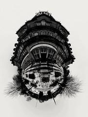 Palace Hotel Little Planet (Miles From Nowhere Photography) Tags: ricohtheta 360° buxton peakdistrict monochrome mono blackandwhite bw architecture hotel