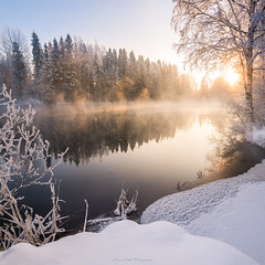 Light the Day! (laurilehtophotography) Tags: kapeenkoski laukaa talvi suomi finland winter landscape winterwonderland snow ice trees forest river stream sunrise sun sky reflections nikon d610 samyang 14mm wideangle nature morning freezing cold steam amazing europe outdoor luonto koski auringonnousu maisema