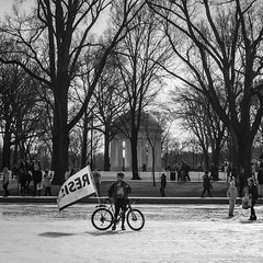 Resist & WWI Memorial (ep_jhu) Tags: 2018 x100f bicycle washington bicicleta antitrump wwimemorial bike protest fujifilm march womensmarch resist fuji bw acros rally dc districtofcolumbia unitedstates us