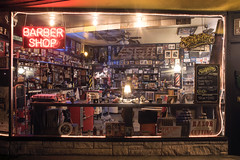 Barber Shop (Curtis Gregory Perry) Tags: milwaukie oregon barber shop night long exposure window neon sign suavecito gay blade razor cutting v stuff nikon d810 24mm f2