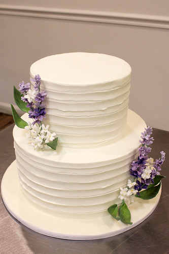 Lavender and Buttercream Ribbon Texture Wedding Cake