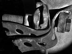 Grounded (arbyreed) Tags: arbyreed macromondays fasteners metal screw bolt nut wire pole groundwire telephonepole bw blackandwhite