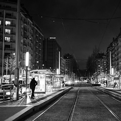 The streets of... Grenoble #45 (richardtostain) Tags: street rue night nuit man alone counterlight citylight sony a7ii pentax fa limited 43mm f19