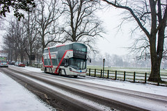 A loan Streetdeck for Bluestar, seen laying over as a spare vehicle during Storm Emma (mangopearuk) Tags: bus uk ukbus buses snow southampton storm stormemma hampshire solent citycentre bluestar loanbus demonstrator wright wrightbus streetdeck sk17hhc