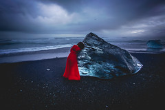 Frozen Dreams (West Leigh) Tags: iceland diamond beach travel wanderlust wandress wander ocean sea storm cold ice glacier blue red dress woman explore experience dream discover landscape nordic north winter
