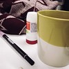 Desk day. 11/365 (jenwuk) Tags: 365the2018edition 3652018 day11365 11jan18 11365 fibertip pen yellow red scarf symbicort inhaler tea coffeemug coffee mug