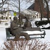 Grandfather and grandson! (skreechowl2003) Tags: park bench sky bushes buildings church wintertime icecream statues snow