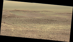 Dark Dunes in the Distance (sjrankin) Tags: 20january2018 edited nasa mars bayerdecoded colorized msl curiosity galecrater output panorama sanddunes terrain