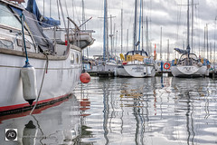 Aqua Marina (alundisleyimages@gmail.com) Tags: liverpoolmarina yacht water craft boats reflections weather docks masts moorings sails boyancyaids city liverpool jetty cloud sky maritime leisure ropes