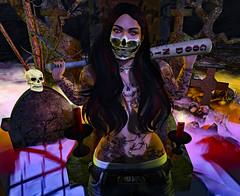 My Name is... (Emerald Rebelheart) Tags: skull redeyes secondlife focuspose catwakimberly bento bat maitreya swag graveyard shadows tombstone mask