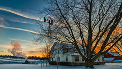 Snowy Sunset #2 (tquist24) Tags: hdr indiana lagrangecounty nikon nikond5300 outdoor clouds cold evening farm geotagged home house rural sky snow sunburst sunset tree trees windmill winter shipshewana unitedstates