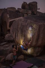 night bouldering (sami kuosmanen) Tags: nature night yö yellow shirtless india intia man mies rock rockclimbing climbing creative luonto light landscape granite hauska hampi funny fun kiipeily bouldering boulder boulderointi