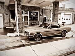 Weaverville-1 (NotableEquine) Tags: 1966 ford mustang red black white gas station old vintage forsale