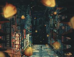 Hope (Sabry Ardore) Tags: cyberpunk dystopic lantern chinese asia digital art matte painting artist sabry ardore solitude alone architecture neon light manipulation photoshop hope