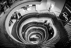 Markenjagd (Karsten Gieselmann) Tags: 8mmf18 em5markii mzuiko microfourthirds monochrome olympus schwarz schwarzweis treppe weis bw black blackwhite kgiesel m43 mft mono sw white münchen bayern deutschland stairs staircase
