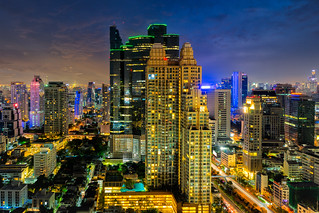 Sunset scence of Bangkok skyline Panorama and Skyscraper