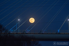 Moon and cables (mythicalireland) Tags: full moon rising boyne cable bridge valley m1 motorway cables astronomy evening dusk blue hour landscape louth meath ireland