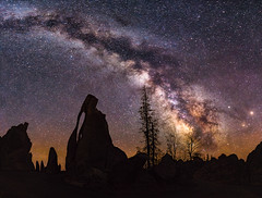 Through the Needles Eye (Jeff Rowton) Tags: needleseye custerstatepark southdakota devilstower wyoming panorama compositeimage milkyway nightsky nature nightscape stars cosmic