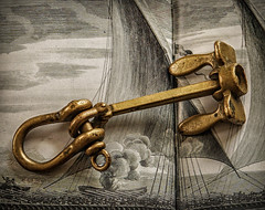 Macro Mondays: Fasteners (Janos Kertesz) Tags: macromondays fasteners ship anchor shekel sailor old antique background vintage metal lock anker schekel book buch brass