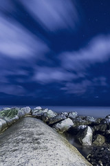 ... night sky ... (jane64pics) Tags: 52weeksof2018 week6 nighttimelongexposure night nightshoot nightphotography nightsky starry seascape sea seaatnight bray brayseafront rocks rocky longexposure janefriel janefriel2018 wicklow